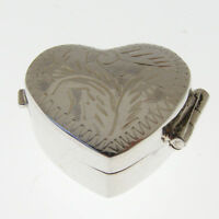 SILVER HEART PILL BOX.  925 STERLING SILVER PILL BOX WITH HAND ENGRAVED LID