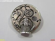 steampunk brooch badge silver mechanical clock workings dalek Dr Who timelord