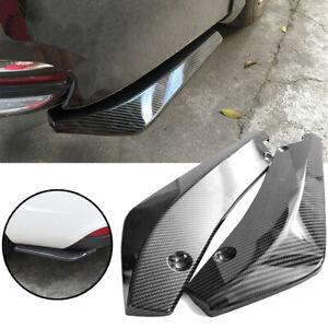 2x Car Carbon Fiber Rear Bumper Lip Diffuser Splitter Canard Protector Black EA