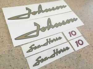Johnson Sea-Horse 10 HP 1950s Vintage Outboard Motor Decal Kit + Free Ship!