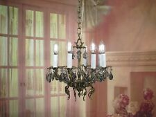 Antique Vintage Chandelier Bronze 8 Lt Petite Smoked Crystals Unique Fixture