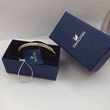 Swarovski Crystal Domino Gold Tone Hinged Bangle Bracelet Medium Nib 5166704