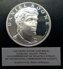 1967 DANIEL BOONE Pioneer Soldier Leader Wilderness Scout .925 SILVER PF Medal