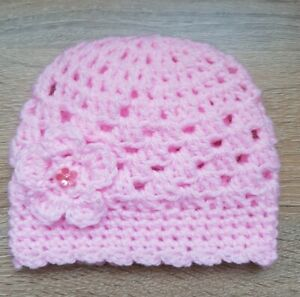 Baby Pink Crochet Hat with a lovely Flower Newborn