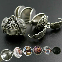 Expanding Photo Locket Necklace Silver Angel Wing Pendant Memorial Gifts HOT INS