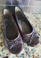 Anne Klein Brown Faux Patent Leather Slip On Ballet Flats Women's Size 6