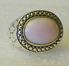 Oxidized Bali Cobblestone Design Bezel-set Cabochon Pink Opal Ring Size 7