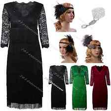 Ladies Black Fringe Flapper Midi Women Dress Cocktail Prom Formal Party Costume