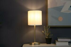 Go Stick Lamp And Gold Metal Grab With USB Port Sturdy Construction Fabric Shade