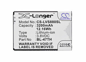 Replacement Battery For LG 3.8v 3200mAh / 12.16Wh Mobile, SmartPhone Battery