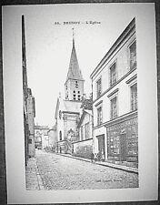 Gravure reproduction carte postale, 20-Brunoy, l'église