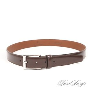 LNWOT Brooks Brothers Made in Italy Cordovan Beveled Leather Silver Bkl Belt 34