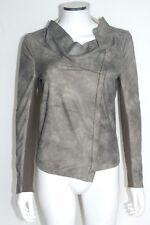 Muubaa Alexis Drape Suede Leather Jacket in Desert Pearl UK 6