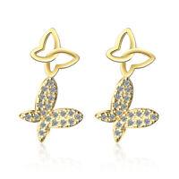 Noble Elegant 925 Sterling Silver Yellow Gold Zircon Butterfly Ear Stud Earrings