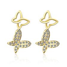 Women's Elegant 925 Sterling Silver Natural Zircon Butterfly Ear Stud Earrings