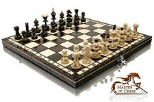 "Stunning PEARL 35cm /14"" Europen Wooden Chess Set. All Pieces with Burnt Design!"
