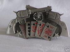 Double-pistolet poker Boucle de ceinture pewter