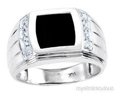 Mens Onyx  & Diamond Ring 14K Yellow or White Gold