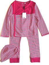 Burberry Toddler Girls Pajama Sleepwear and Beanie Set Sz 3 Pink White Striped