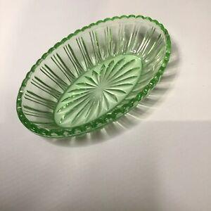 Vintage Green Depression Glass Bowl 20cm Antique Men Women Collectors Treasure