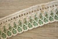 3 Meters TR826 Lace Cream Green 50mm Wide Trim Cotton