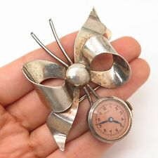 925 Sterling Silver Vintage Bow Design Croton Watch Pin Brooch