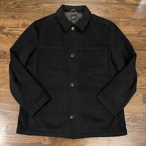 Hugo Boss Mens 46 R Black Cashmere Wool Button Front Jacket Chester Coat