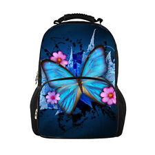 Women Butterfly Backpack Book School Bag Large Rucksack Schoolbag Daypack Blue