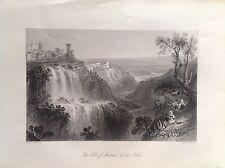 VILLA MECENATE TIVOLI Cascate fiume Aniene ROMA acciaio originale 1850 Brandard
