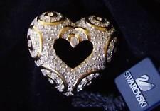 Signed Swan Swarovski Pave Heart Brooch Pin