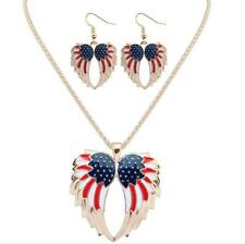 Betsey Johnson Pendant Set Charming Jewelry Enamel Angel Wings Earring Necklace