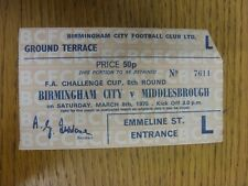 08/03/1975 Ticket: Birmingham City v Middlesbrough [FA Cup] (corner very slightl