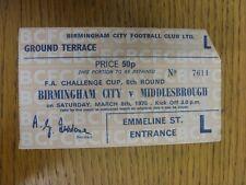 08/03/1975 Ticket: Birmingham City v Middlesbrough [FA Cup] (corner very slightl