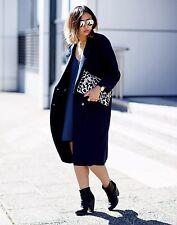 Zara Marineblau Wolle Maskulin Mantel Taillierte Jacke Extragroße XL