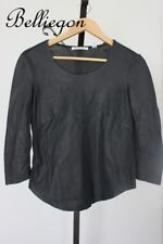 COUNTRY ROAD Black LEATHER Top Blouse Size Small 8 Jacket