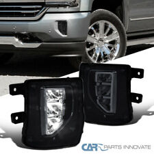 Fit 16-18 Chevy Silverado 1500 Smoke LED Fog Lights Driving Bumper Lamps+Switch