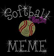 Softball MEME - C - Iron on Rhinestone Transfer Hot Fix Bling Sports School