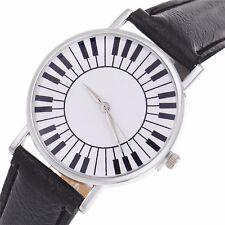 Modern dames piano toetsenbord horloge zwart, extra batterij cadeau, Nieuw - 4