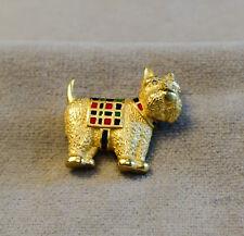 VTG Carolee Goldtone Scottish Terrier Pin w/Scottish Vest & Collar & RS Eyes