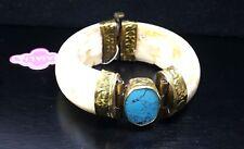 BAJALIA  Turquoise stone Runway Statement Brass Hinged Clamper Cuff Bracelet