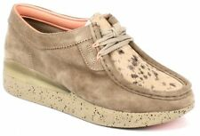 Clarks Buckle Wedge Suede Shoes for Women