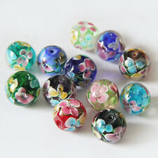 Wintersweet Flower Inside Glass Round Beads Loose Spacer Beads Jewelry DIY 14mm