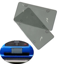 2PCS Car Smoked  License Plate Cover Tag Frame Shield Tinted Bubbled Flat Handy