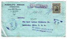 Salvador Sc#479(single frank)-SAN SALVADOR AUG/30/1924-REGISTERED-A.R.