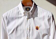 "Nordstrom ""Hampton Cup"" Gent's L (16/34) White Cotton Shirt - Red & Blue Stripes"