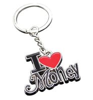 "Key ring, bag charm words ""I love money"", red heart"