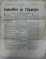 JOURNAL LE CONSEILLER DE L'EPARGNE 9 MAI 1880 TRES BON ETAT