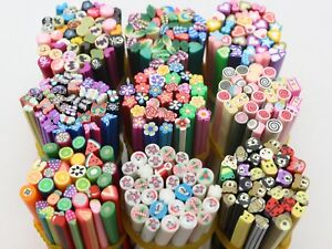 20pcs Cane DIY Polymer Clay Slice Rods Sticker 5X50mm Various style Nail Art Tip