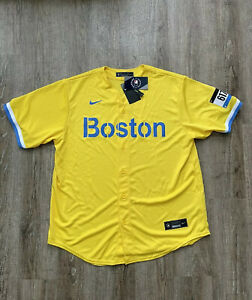 Nike Men's City Connect Boston Red Sox Jersey Gold Light Blue Sz Med