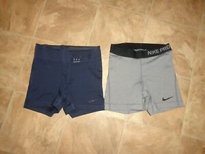 Lot of 2 Women's Nike Pro Fitted Shorts Navy/Gray Size XS